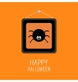 Spider in the picture frame Happy Halloween card vector image vector image