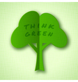 Stylized green paper tree with shadow vector image