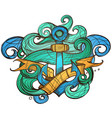 the ships anchor and crab tattoo for design vector image vector image