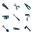tools icons set with hatchet saw pliers and vector image