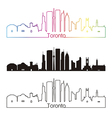 Toronto V2 skyline linear style with rainbow vector image vector image