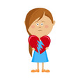 unhappy little girl holding a broken heart vector image