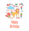 Unicorn holiday card with flower strawberry ice vector image