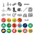 usa country flat icons in set collection for vector image