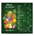 Vegetarian food restaurant menu on chalkboard vector image