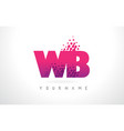 wb w b letter logo with pink purple color and vector image vector image