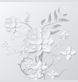 white flower and bouquet beautiful paper art 3d vector image