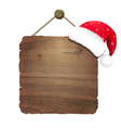 Wooden Sing With Santa Claus Cap vector image