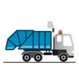 cartoon garbage truck on white background vector image