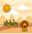 safari africa lion jeep desert sun vector image