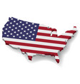 3d united states of america map with flat flag vector image