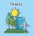 airplane list landscape tourist vacation travel vector image