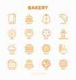 bakery thin line icons set vector image vector image