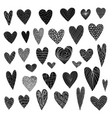 big set cute doodle black textured hearts vector image vector image