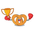 boxing winner pretzel mascot cartoon style vector image vector image