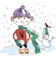 boy with snowball vector image vector image