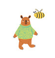Cartoon colorful bear in jumper standing with bee