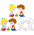 Children with a whirligig vector image vector image