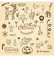 christmas doodle set vector image