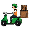 courier in motorcycle delivery service vector image vector image