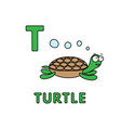 cute cartoon animals alphabet turtle vector image
