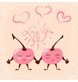 cute chery love heart vector image