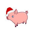 cute piglet with a santas hat on walking vector image vector image