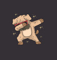 cute pug dabbing graphic vector image