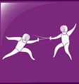 Fencing icon on purple background vector image