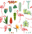 flamingo leaves flowers seamless white background vector image vector image
