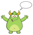 funny horned green monster vector image vector image