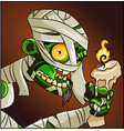 halloween horror mummy character with a candle vector image vector image