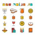Hanukkah icons set Jewish Holiday Hanukkah symbol vector image vector image
