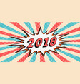 happy new year banner 2018 style pop art comic vector image vector image