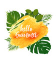 hello summer gold paint glittering textured art vector image