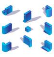 isometric blue english letter j 3d alphabet part vector image vector image