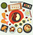 japanese cuisine dishes and meals oriental food vector image vector image