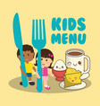 kids menu nutrition food breakfast vector image vector image