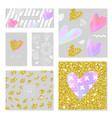 love greeting card set with golden glitter texture vector image