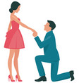 loving couple woman and man kneeling in profile vector image vector image