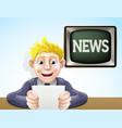 news reader cartoon vector image vector image