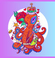 octopus in the crown with the red rose sketch of vector image vector image