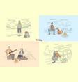 people on holiday vacation couple camping vector image vector image