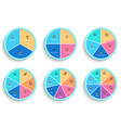 pie charts with 3 4 5 6 7 8 steps sections vector image vector image