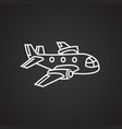 plane thin line on black background vector image vector image