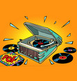 pop music vinyl records and gramophone vector image vector image