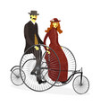 retro couple of cyclists on bicycle vector image vector image