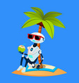 robot on vacation sunbathes under palm on the vector image