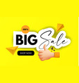 sale banner 3d design with thumbs up cartoon sign vector image