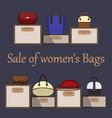 sale of women s bags various women s bags on vector image vector image